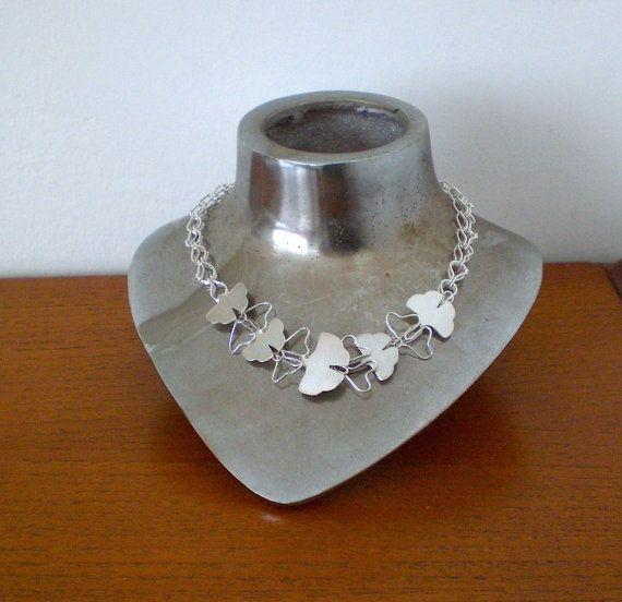 Sterling Silver Ginkgo Leaves Necklace - Loop in Loop Chain - Floral - Handmade -  Fine Jewelry