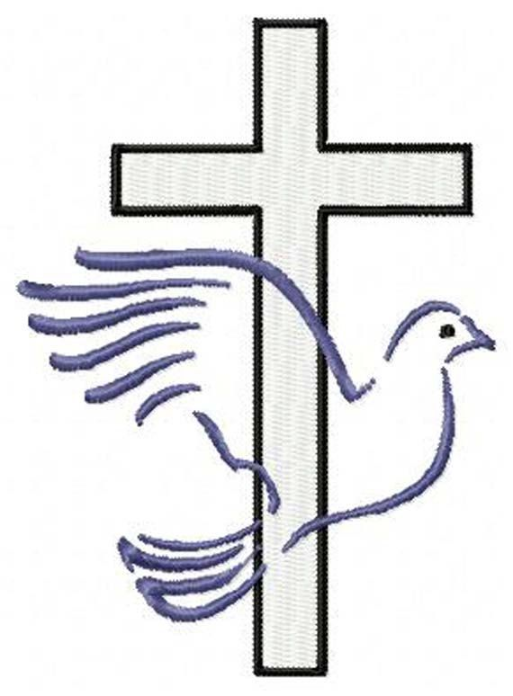 Cross with Dove Christian Machine Embroidery Design - Instant Digital Download Embroidery File