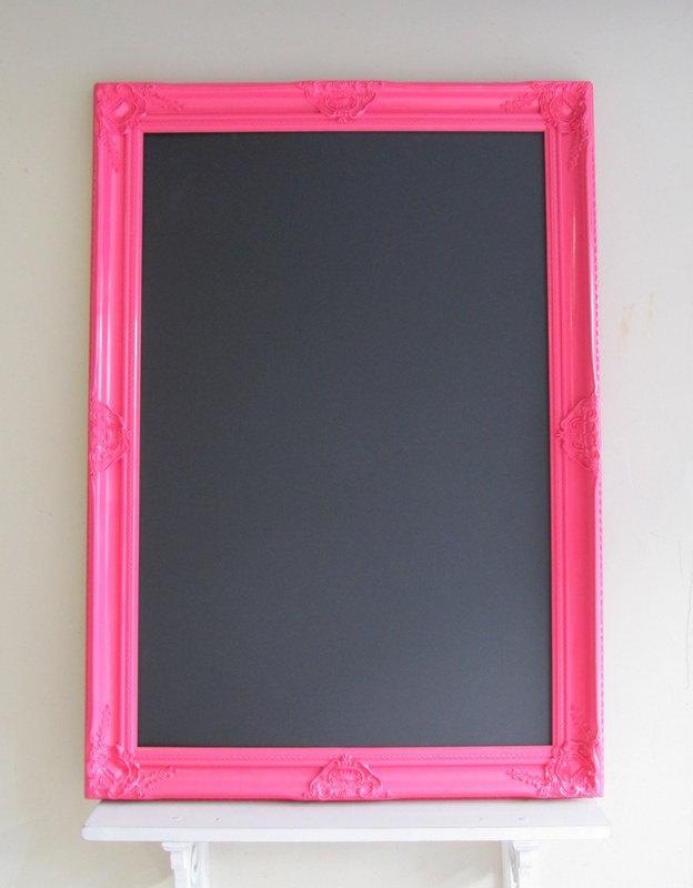 EXTRA LARGE Chalkboard Bright Pink Playroom Decor Girls Room Wedding Hot Pink Neon MAGNETIC Educational Bulletin Board Memo Board 30inx42in. $219.00, via Etsy.