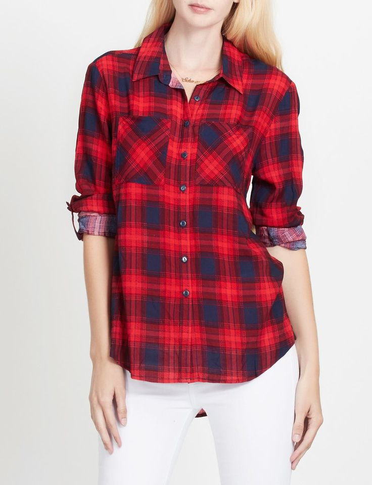 74 best images about women 39 s plaid shirts on pinterest for How to roll up sleeves on women s dress shirt