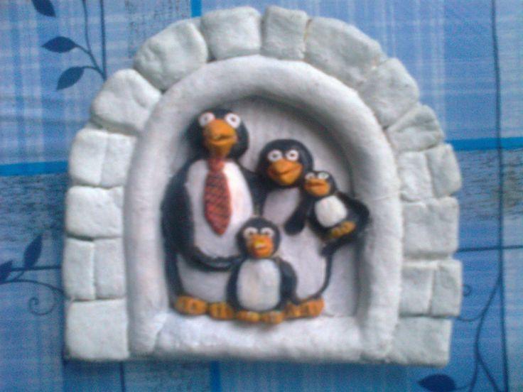 salt dough - family of penguins