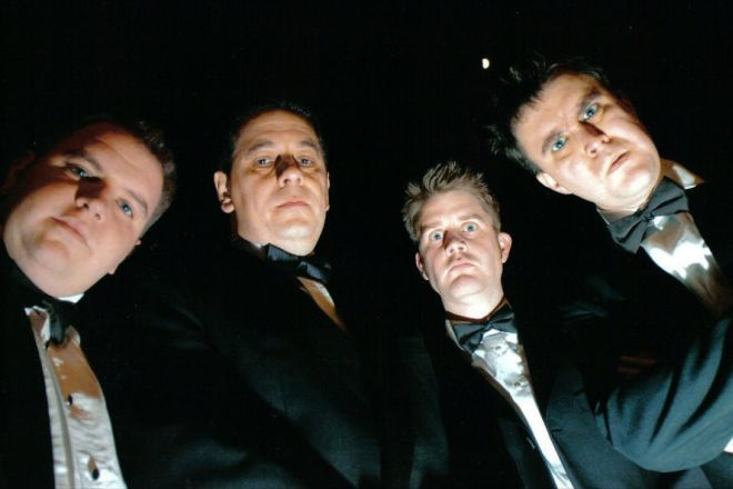 Phil Simcox, Kim Harris, Paul Wilson and Ross Lowe in Bouncers by John Godber. This was the first production (in 2005) by Derby-based Four Blokes theatre company. Article written by Elaine Pritchard for the Downstage Centre website