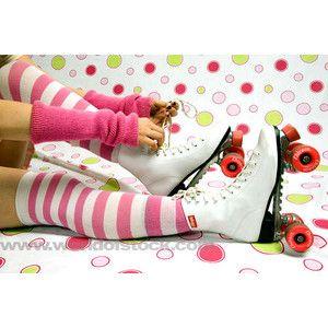 selena gomez roller skates | ... White Roller Skates On A Polka Dot Background - World of Stock Photos