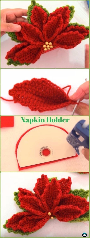 Crochet CDPoinsettia Flower Napkin Holder Free Pattern Video - Crochet Poinsettia Christmas Flower Free Patterns