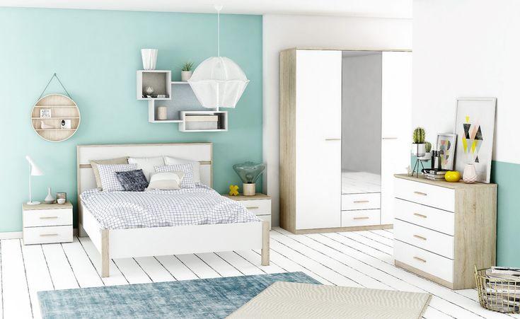 Lit 140x190 cm Coloris chêne et blanc SALINE - BUT #lit #chambre #decoration #ambiance