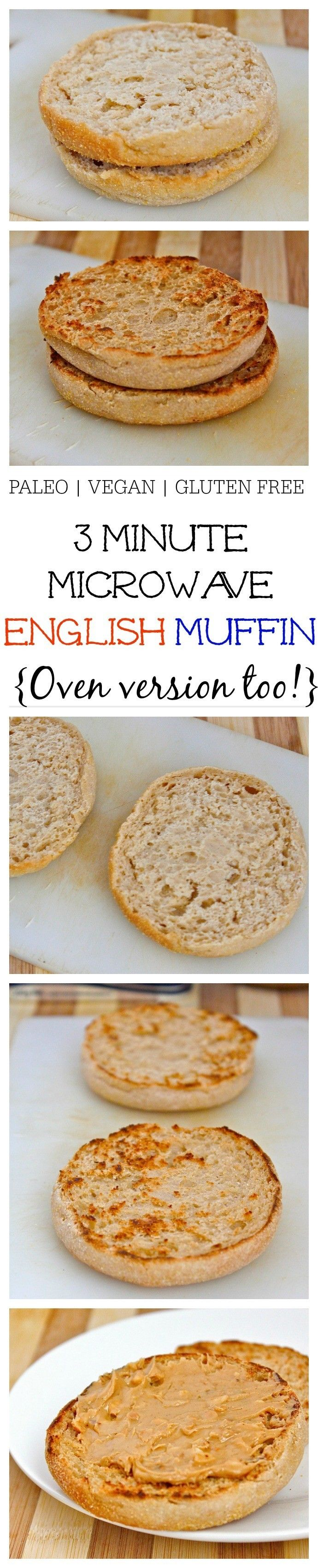 3 Minute Microwave English Muffin (Paleo, Vegan AND gluten free!)- Just THREE minutes and a simple ingredient list is needed to whip up this microwave English muffin which is JUST like the real deal! There are three versions- Paleo, Vegan and Gluten Free to suit most dietary lifestyles- For those without a microwave, there is an oven friendly version! @thebigmansworld - thebigmansworld.com