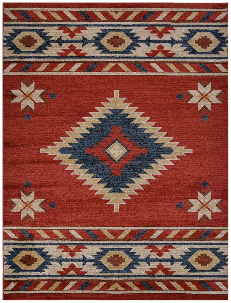 Nevita Collection Southwestern Native American Design Area Rug Rugs Geometric Orange