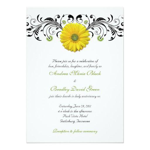 Yellow Gerber Daisy Floral Wedding Invitation