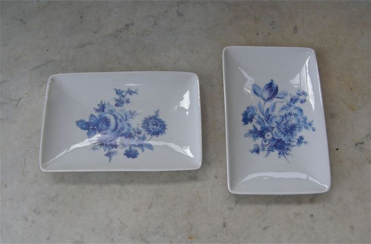 Two LIMOGES DISH French Pin Tray Cobalt Flowers on White Porcelain Plate Curved Sides France 1960's Free Shipping! by OnceUpnTym on Etsy