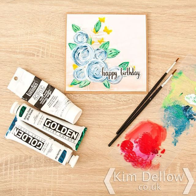 Painted Scribble flowers I'm a little bit besotted with them at the moment they are turning up on all sorts of projects! #cardmaking #paint #scribbleflower #cards #golden #liquitex #mftstamps #stamps #kimdellow