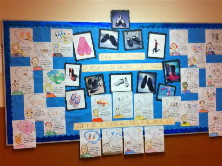 """This is our January installment of the Leader in Me bulletin board. Habit 5: seek first to understand, then to be understood. We talked about how important it was to """"walk in other people's shoes"""". Then the students did self portraits and wrote how they took someone else's point of view. Idea compliments of Bob Traugh."""