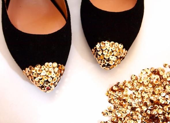 DIY Shoes Refashion: DIY Sequin Cap Toe Flats