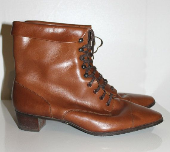 Vintage 1960s 1970s brown leather lace up boots by Lovelievintage