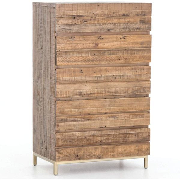 Tiller Brass Reclaimed Wood 5 Drawers Chest ($1,225) ❤ liked on Polyvore featuring home, furniture, storage & shelves, dressers, brass dresser, reclaimed wood dresser, five drawer dresser, 5 drawer dressers and brass furniture