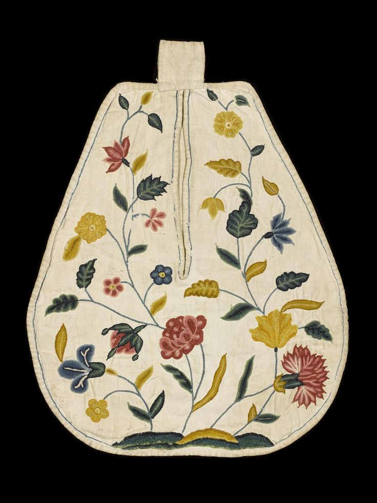 Linen bag with an inverted pear shape, embroidered in coloured silks with sprays of exotic flowers, and with a central vertical opening: English, early 18th century