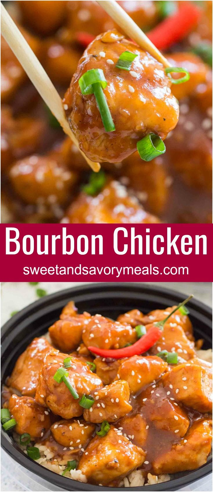 Spicy Bourbon Chicken is perfectly sweet, sticky and spicy, made in just one pan for a quick weeknight dinner with tasty leftovers.