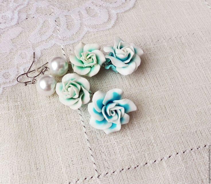 Купить Серьги Розовая нежность длинные с розами голубые бирюзовые - голубой, бирюзовый, зеленый, пастельный