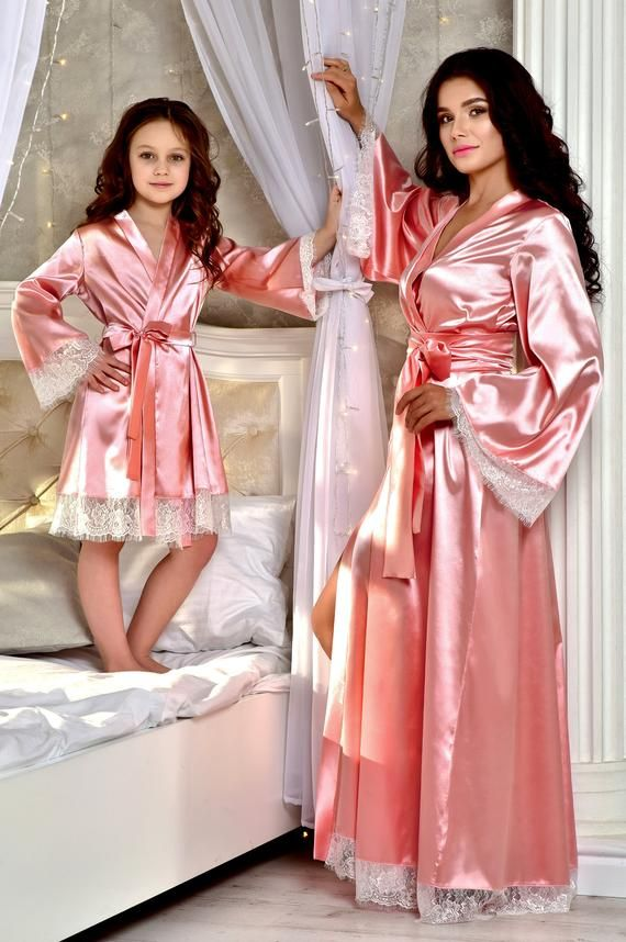 Women robe Silk Satin Robes Wedding Bridesmaid Bride Gown kimono Solid robe gift