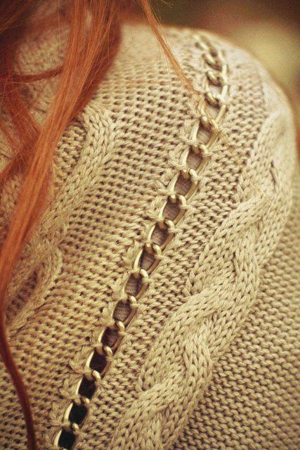chain and knit - This is interesting cardigan. From the other pictures it looks like the chain is apart of the raglan shoulder area.
