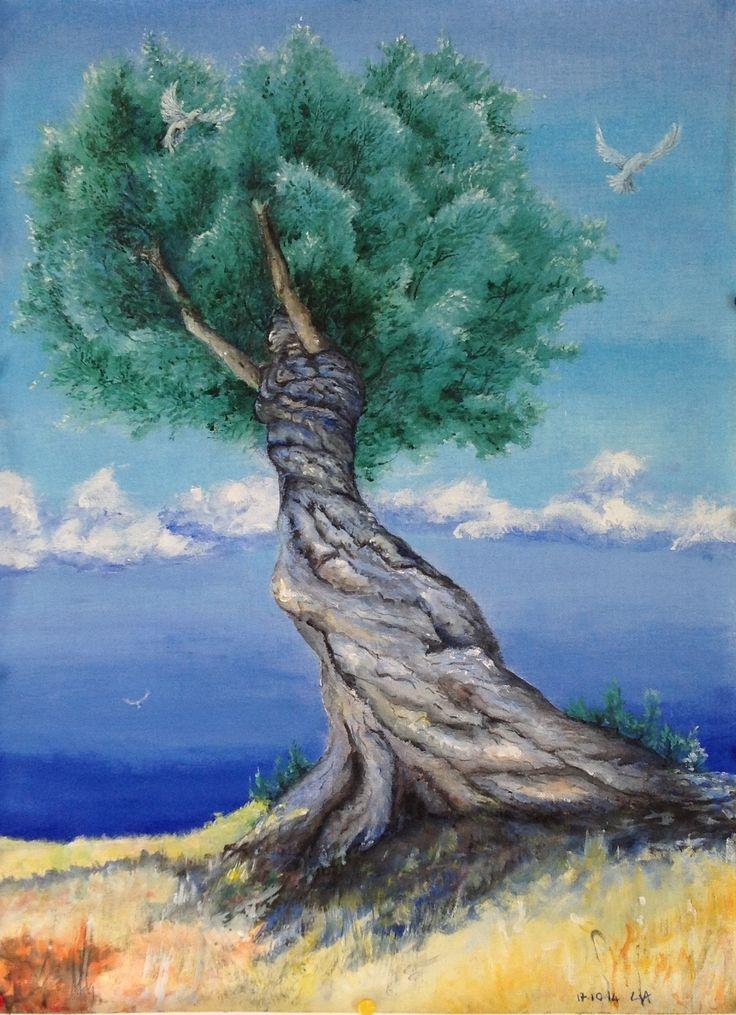 45x60 cm Acrilici su tela Irene è la pace, la donna-ulivo porta numerosi doni.