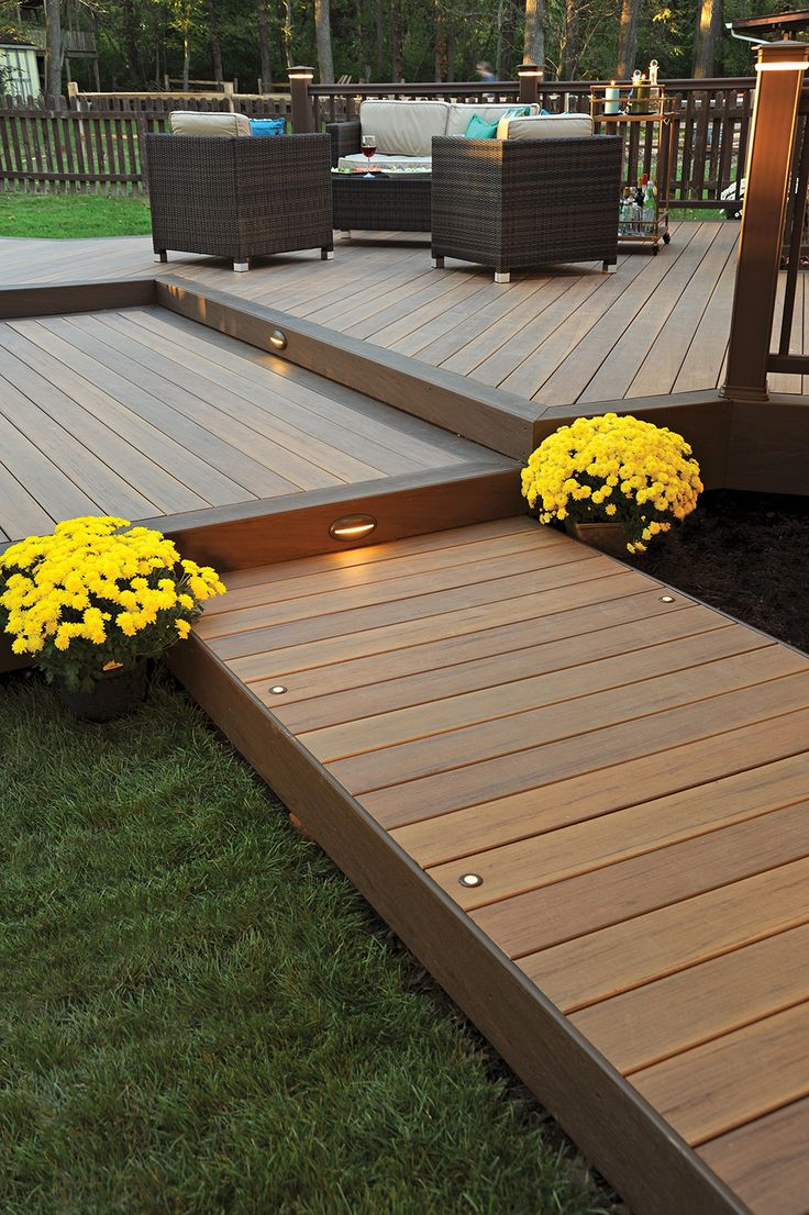 In-deck step riser lights look beautiful together and keep your yard looking elegant at night.   TimberTech