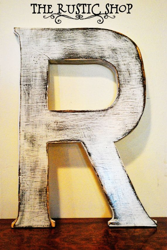 Shabby Chic Rustic Wooden Large Letter R, Distressed Painted White. Tall  Wood Name Letters, Baby Nursery Decor, Wedding Decor