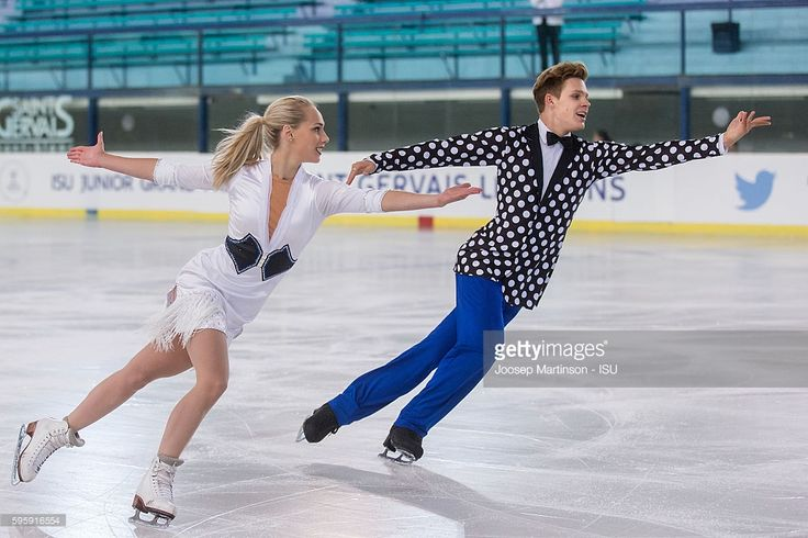 Nicole Kuzmich and Alexandr Sinicyn of Czech Republic compete during the ice dance short dance on day two of the ISU Junior Grand Prix of Figure Skating on August 26, 2016 in Saint-Gervais-les-Bains, France.