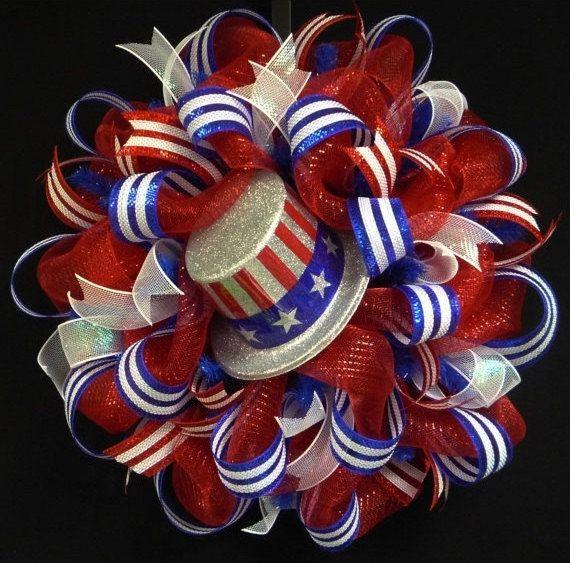 4th of July RWB Memorial or Labor Day Wreath by wreathsbyrobin, $65.00