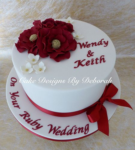 Ruby Wedding Cake - cake designs by Deborah - For all your Ruby Anniversary cake decorating supplies, please visit http://www.craftcompany.co.uk/occasions/anniversary/ruby-wedding-anniversary.html