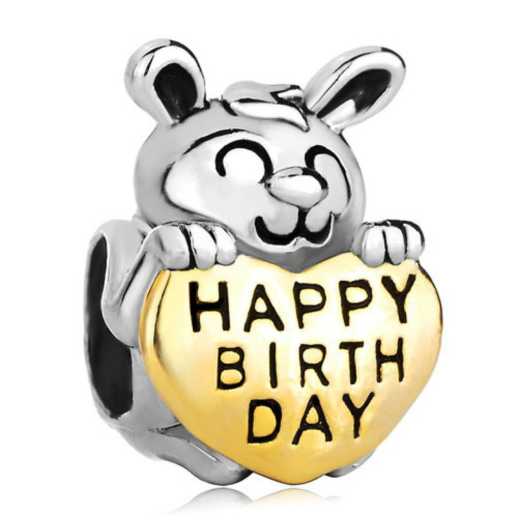 22K Golden Plated Cute Rabbit Holding Heart Love Happy Birthday European Beads Pandora Chamilia Compatible | Charmsstory.com #birthday #charms #pandora #beads #rabbit #happybirthday