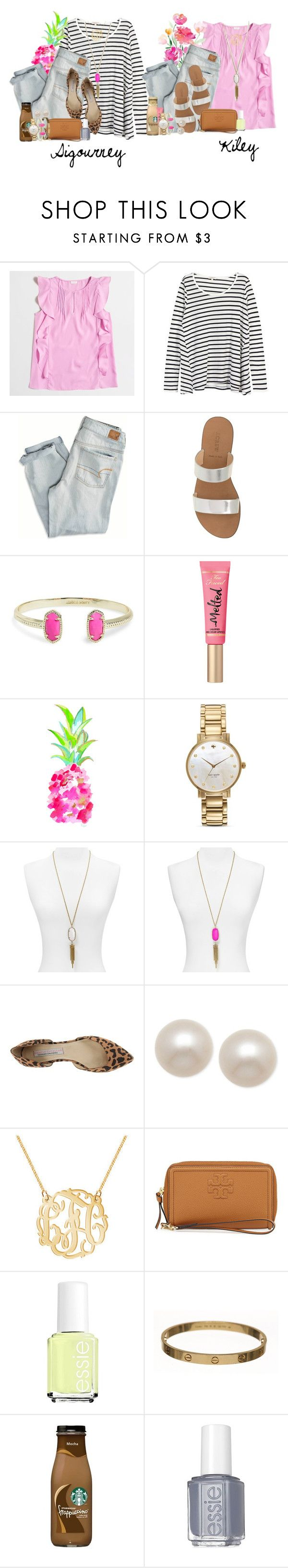 """""""bff set for kiley """" by smbprep ❤ liked on Polyvore featuring J.Crew, Demylee, American Eagle Outfitters, Kendra Scott, Too Faced Cosmetics, Kate Spade, Chinese Laundry, Honora, Tory Burch and Essie"""