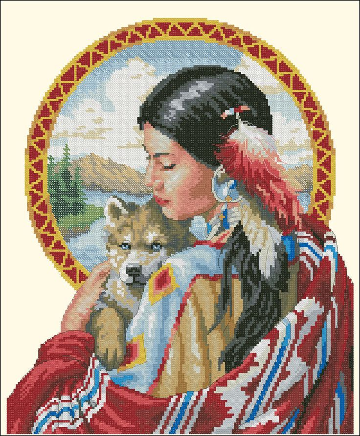 Chart Needlework Crafts DIY Counted Cross Stitch Pattern PDF Girl with dog. #NattikStudio
