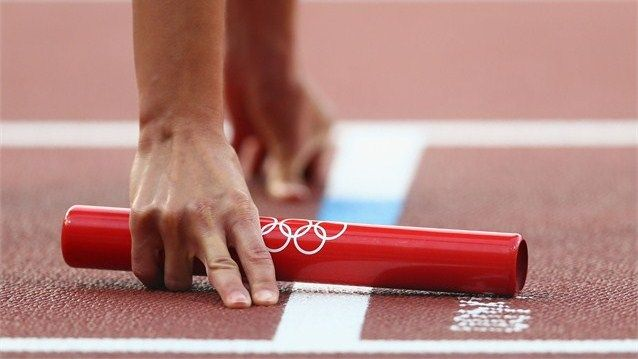 Getting set for the women's 4 x 400m Relay Round 1 heats on Day 14 of the London 2012 Olympic Games at Olympic Stadium.