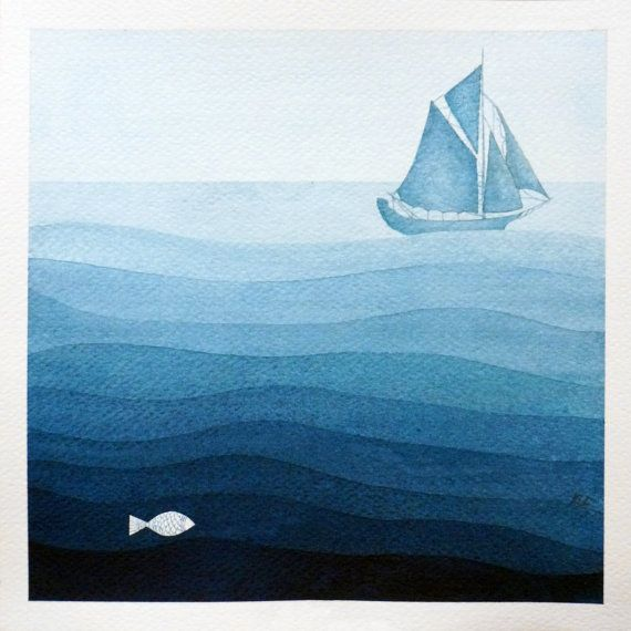 Print sailboat illustration, blue, watercolor painting, nautical nursery art by VApinx
