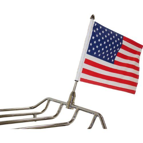 """Fixed Motorcycle Flag Mount - 0.5in. > Includes allen keys for easy installation Includes 6"""" x 9"""" American flag Made in the USA"""