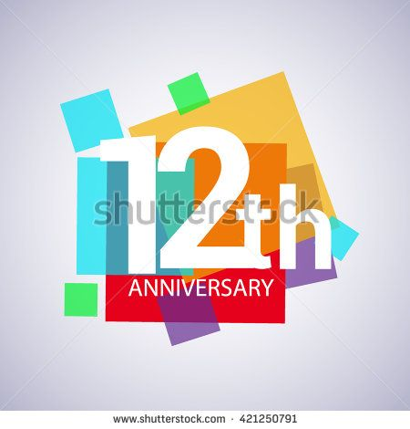 12th anniversary logo, 12 years anniversary colorful vector design. geometric background. - stock vector
