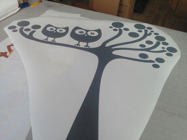Grey owl tree for kids' room