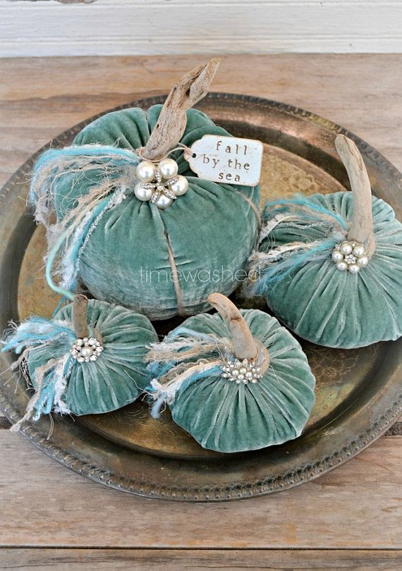 Velvet Pumpkins Coastal Beach Fall by timewashed on Etsy, $52.00 Dusty aqua silk velvet and natural driftwood stems!