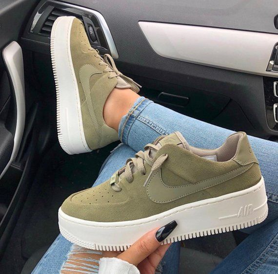 Swarovski Nike Air Force 1 Sage Low Women Casual Sneakers Made With Swarovski Crystals Olive Swarovski Nike Casual Sneakers Sneakers Fashion