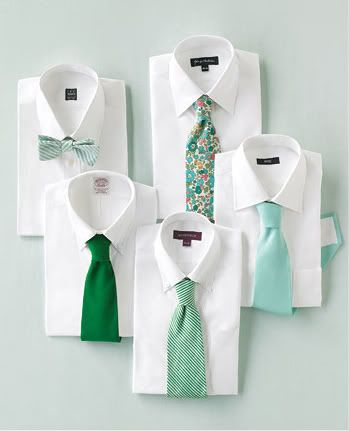 Ever notice how the groomsmen are always generally dressed the same while the bridesmaids get a little more leeway in picking their dresses?  Why not give the men a little bit of fun too by letting them pick ties in their favorite pattern? :)