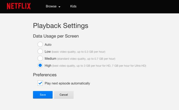 "Watch Netflix & Hulu in actual HD. |  By default,  Netflix playback settings will be on ""Auto,"" meaning the service will determine your streaming quality based on connection. You'll need to go into the Account menu, then Playback Settings and set your data usage to High in order to force HD or Ultra HD playback. In Hulu, you can change this in the settings menu in the control bar of any video you're currently watching. This will use up a ton of data (up to 7 GB per hour for Ultra HD),"