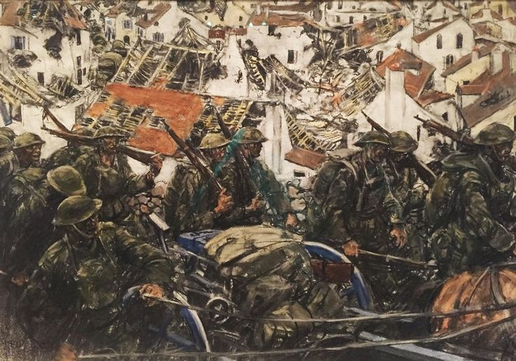 """""""Going into position through a ruined town,"""" by Harvey Thomas Dun 1918"""