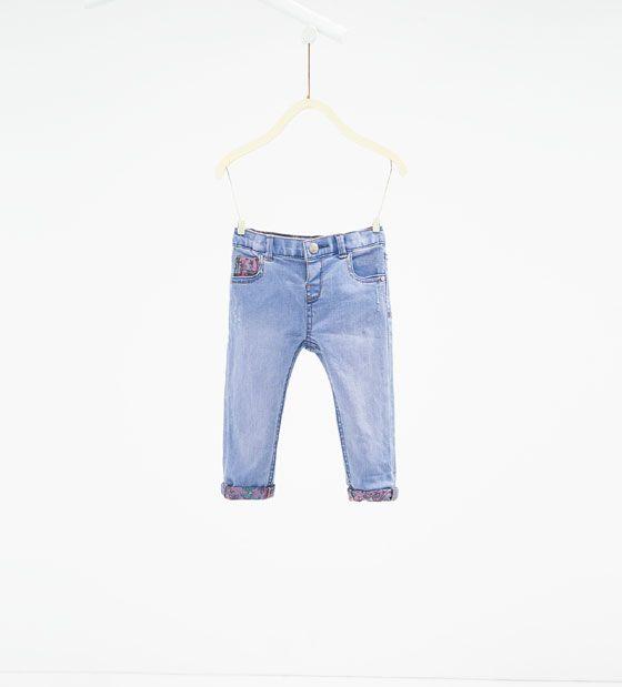 ZARA - KINDEREN - Jeans met bedrukte binnenzijde