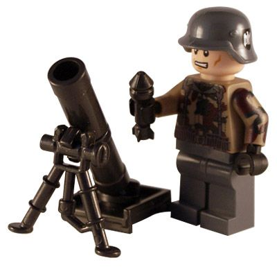 WW2 German Soldier - Mortar - Customised Lego Figure