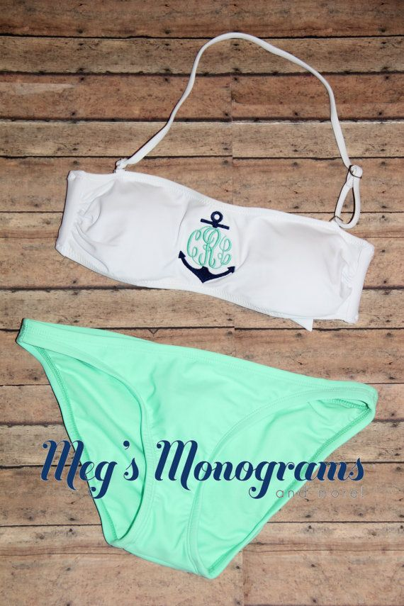 Monogrammed Bandeau Swim Suit Top with anchor on Etsy, $27.00