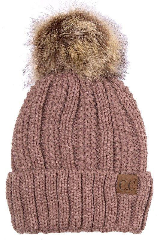 Lined Knit Hat with Pom Pom