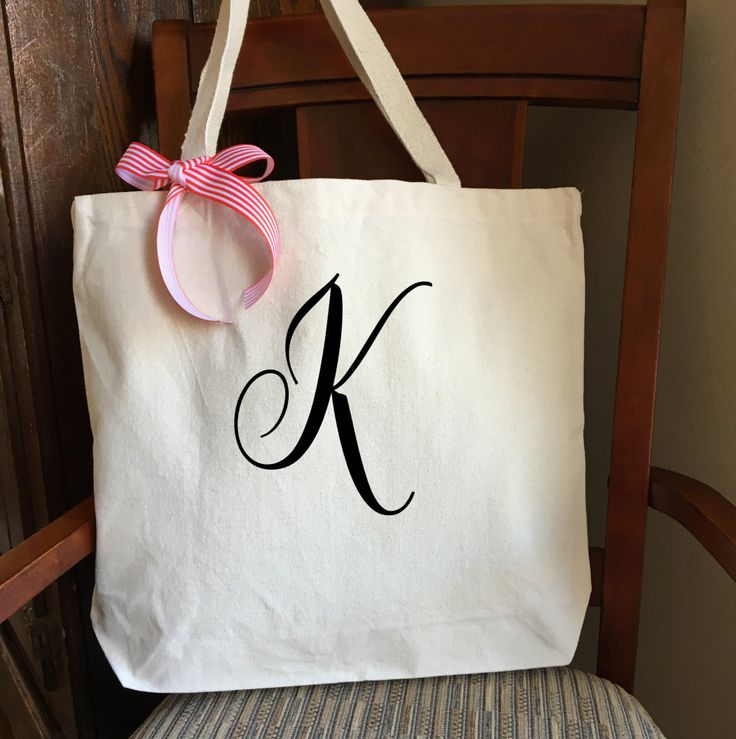 Monogrammed Canvas Tote Bag; Personalized Tote Bag; Custom Bag; Cotton Canvas Tote; Personalized Bag; Wedding; Monogram; Gifts under 20 by PMWBoutique on Etsy