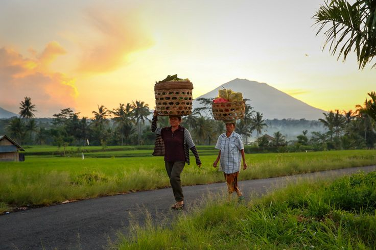 Rural Bali. Rice terraces, 2 Balinese women carry their goods. Explore the best photographic areas of Ubud and the surrounding mountains off the tourist trail.  Love photography and want to improve your photography skills? Then join our Full day Photo-Tour in Bali: