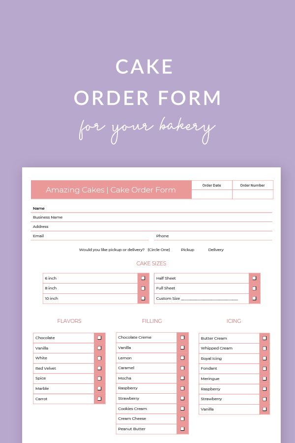 Cake Order Form 7 Wedding Cake Order Form Cake Order Forms