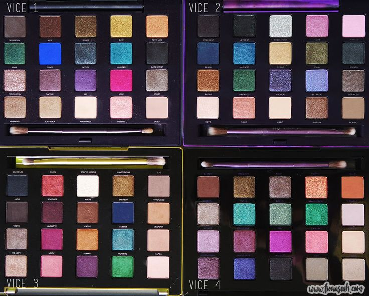 A quick side-by-side comparison with its predecessors - Urban Decay Vice 1,2,3,4